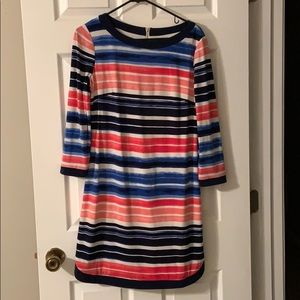 Pink, white and navy stripped dress